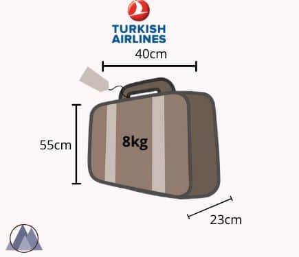 turkish airlines handbagage mått och vikt