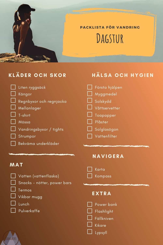Packlista för vandring: dagstur